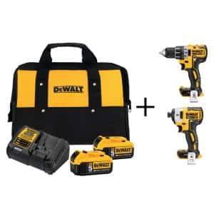 dewalt 20 volt max brushless drill u0026 impact driver u0026 two 20v max 5 amp