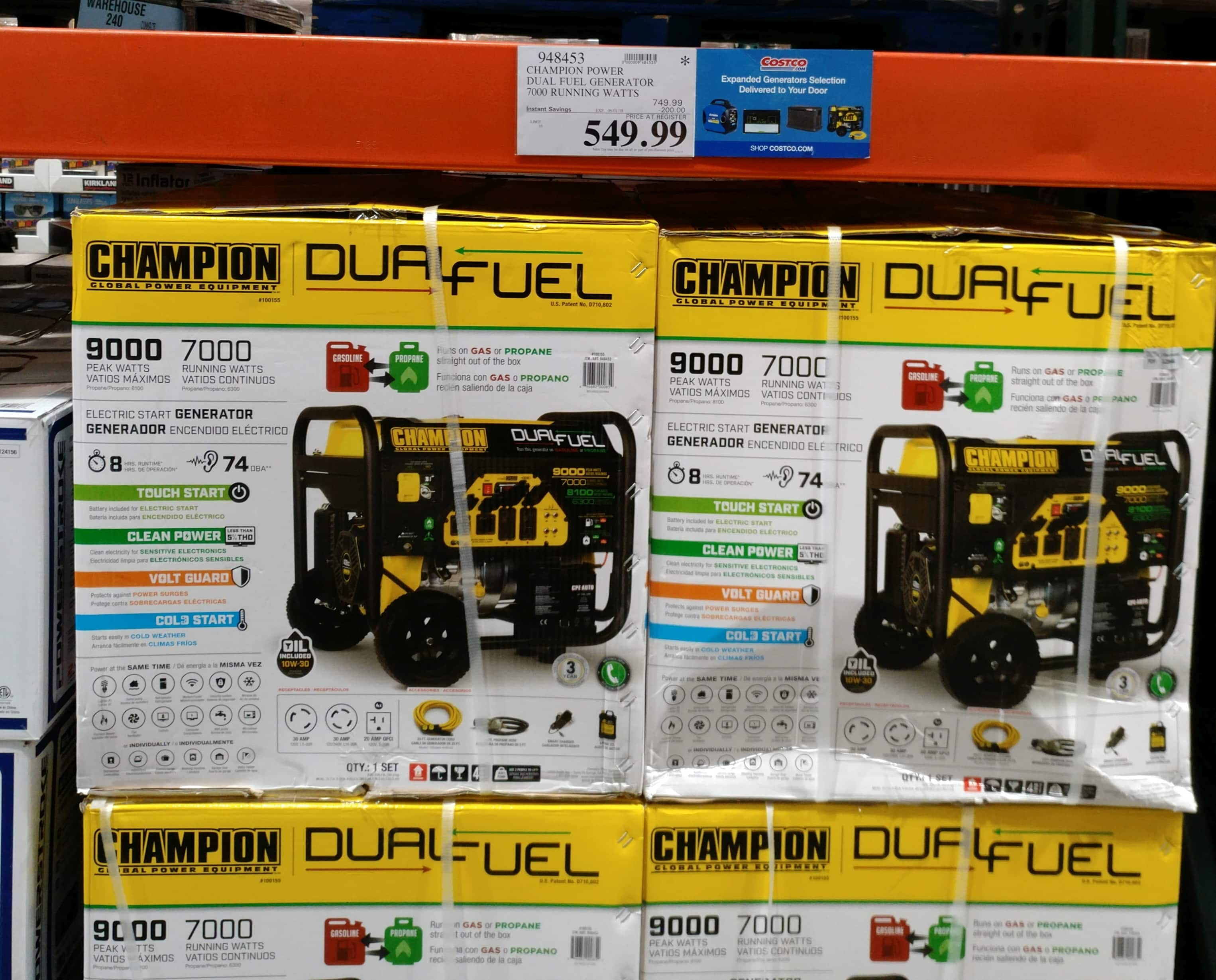Champion 7000W Dual Fuel Generator with 25' 30 Amp Cord $549.99 Costco B&M