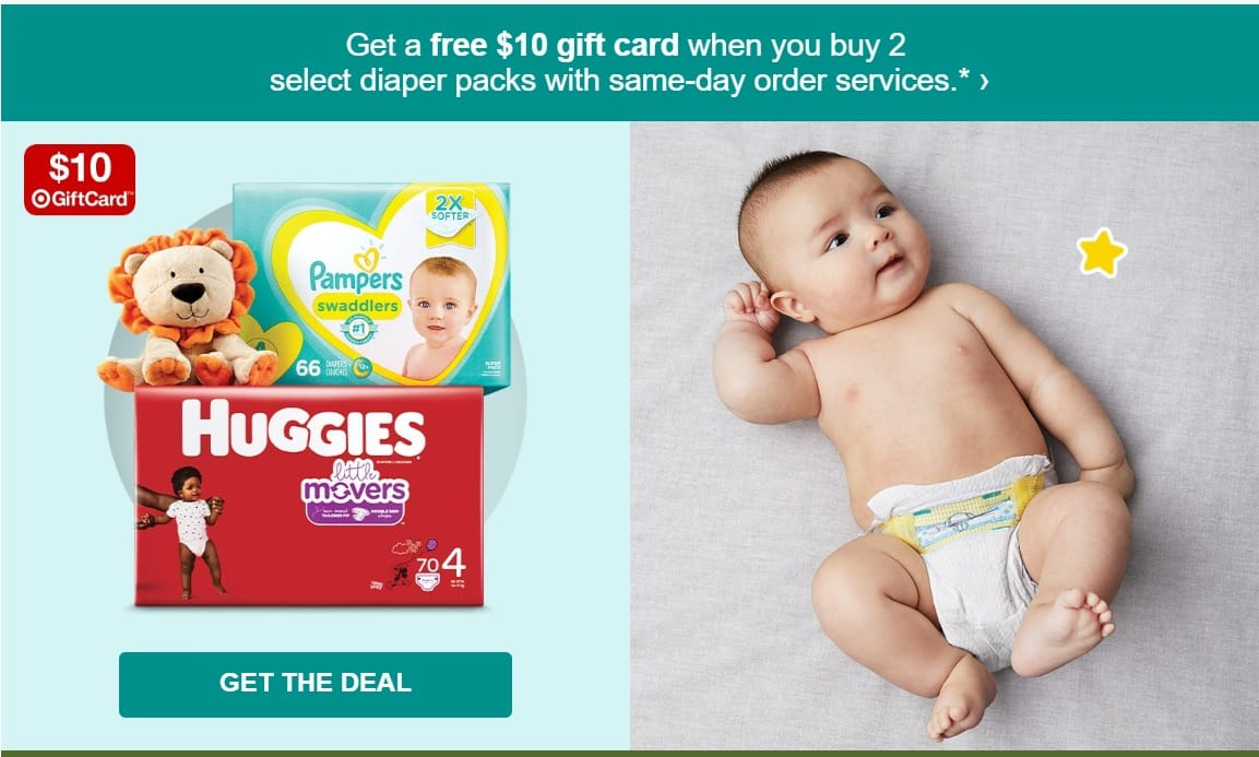 Free $10 gift card with 2 diaper packs $15