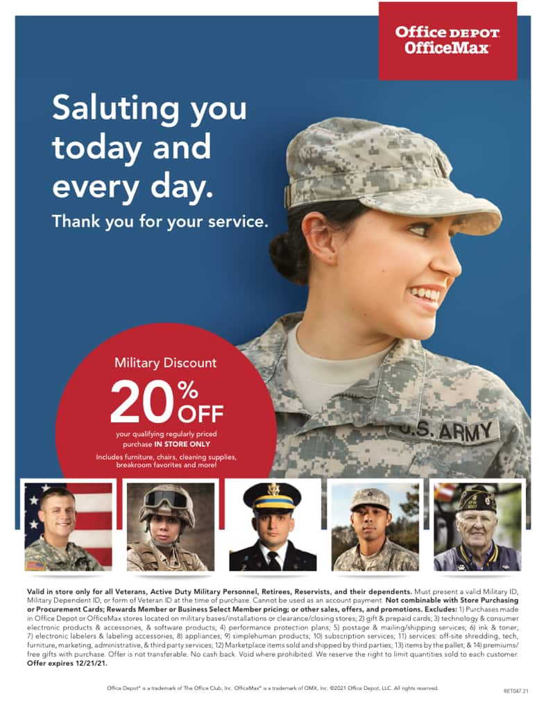 Military only - Office Depot - 20% off most purchases - Instore