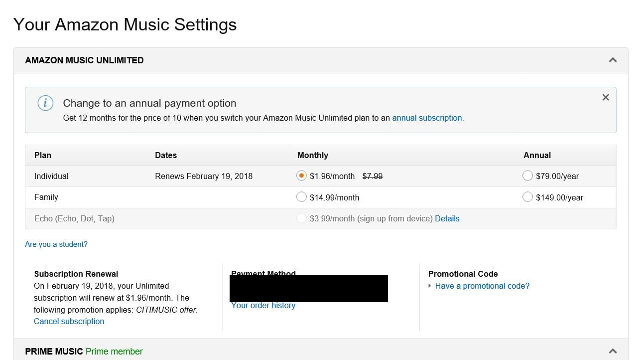 6749d803547a6 Amazon Music Unlimited renewing @ $1.96/month for Prime members YMMV -  Slickdeals.net