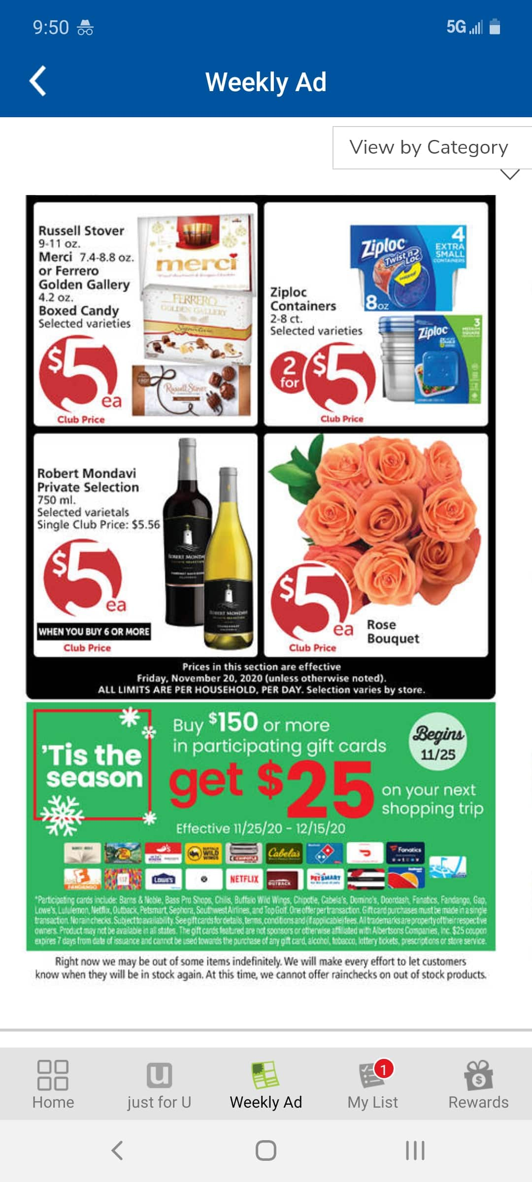 Albertsons, Vons, Safeway, etc. get $25 shopping coupon with purchase of $150 in select giftcards YMMV Starts 11-25-20