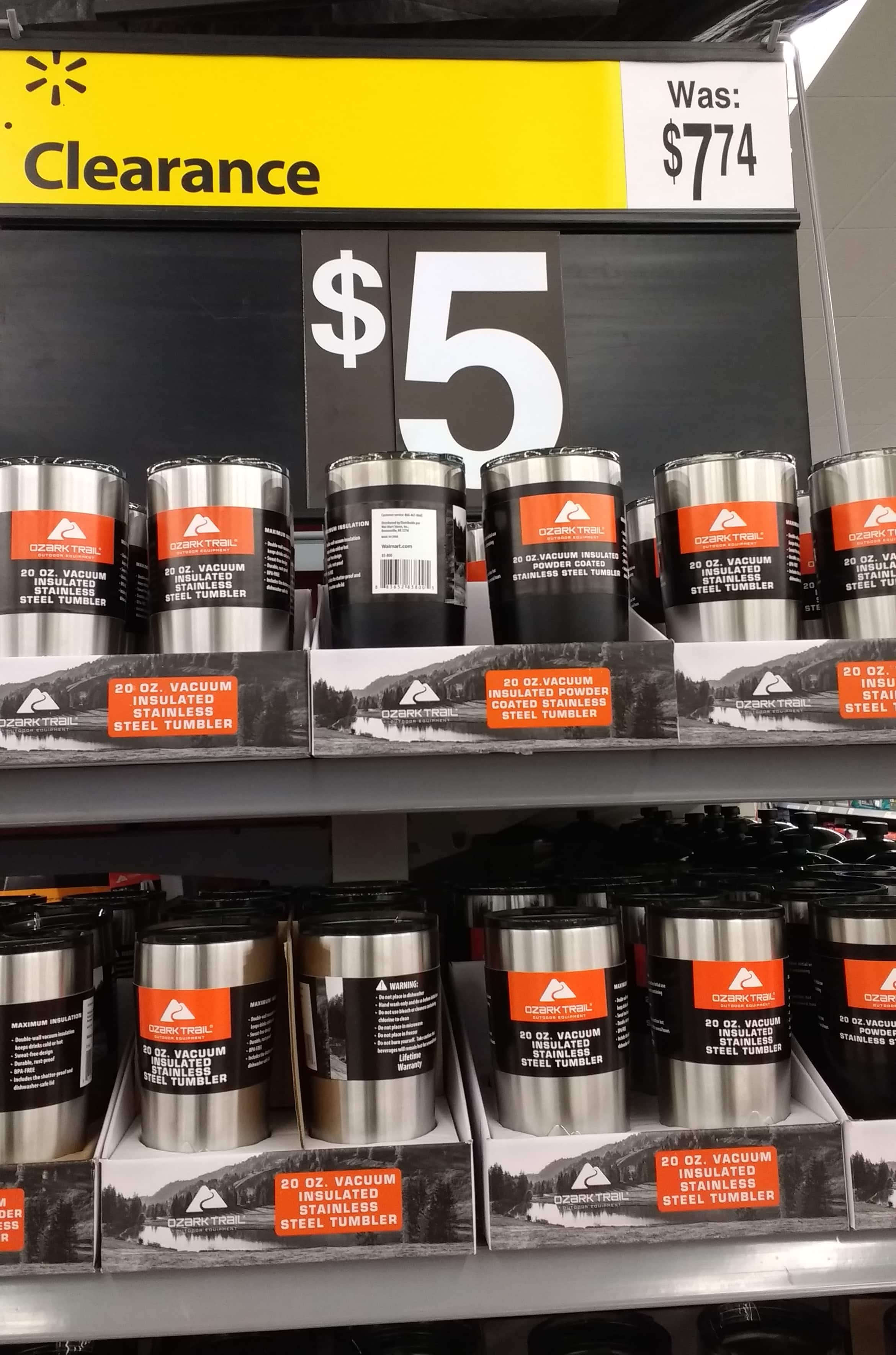 Ozark Trail 20-Ounce Double-Wall, Vacuum-Sealed Tumbler on Clearance for $5 at Walmart B&M YMMV
