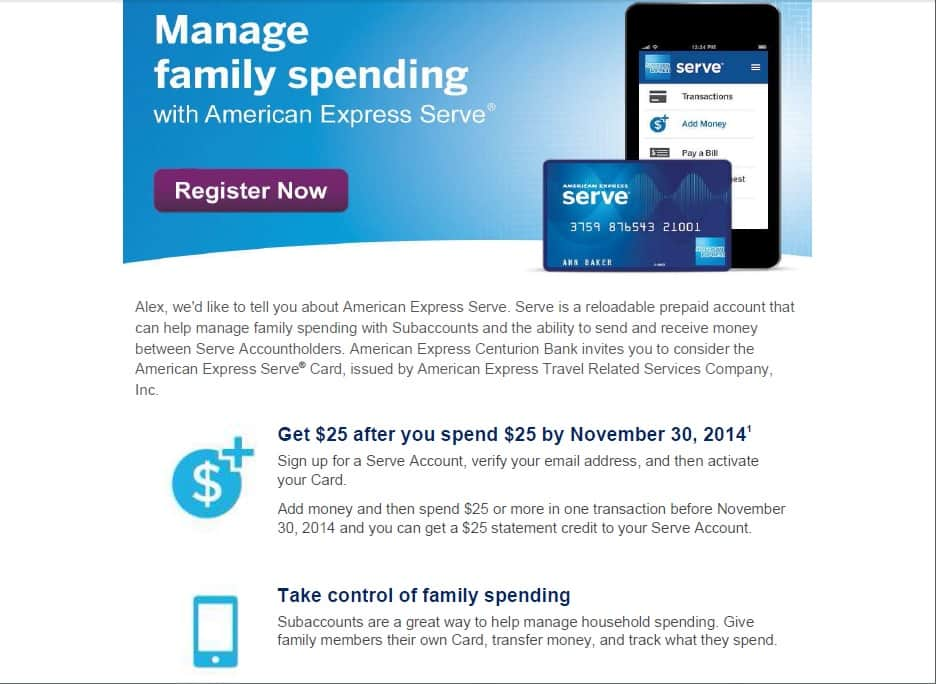 AMEX Serve Card Spend $25 and get $25 Credit (New Customers Only)