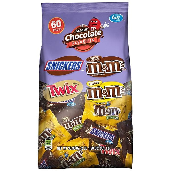 33.9oz MARS Chocolate Favorites Fun Size Candy Bars (60-Piece Bag Variety Mix) $6.02 @Amazon