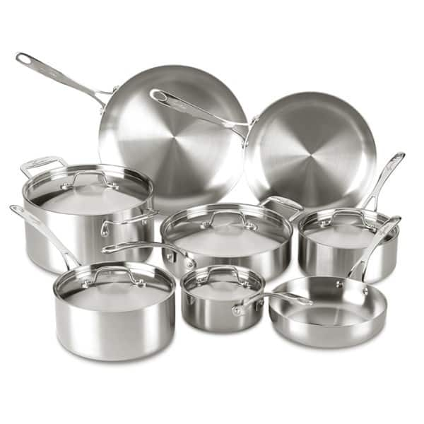 Lagostina 13-Piece Axia Tri-ply Stainless Cookware Set $154