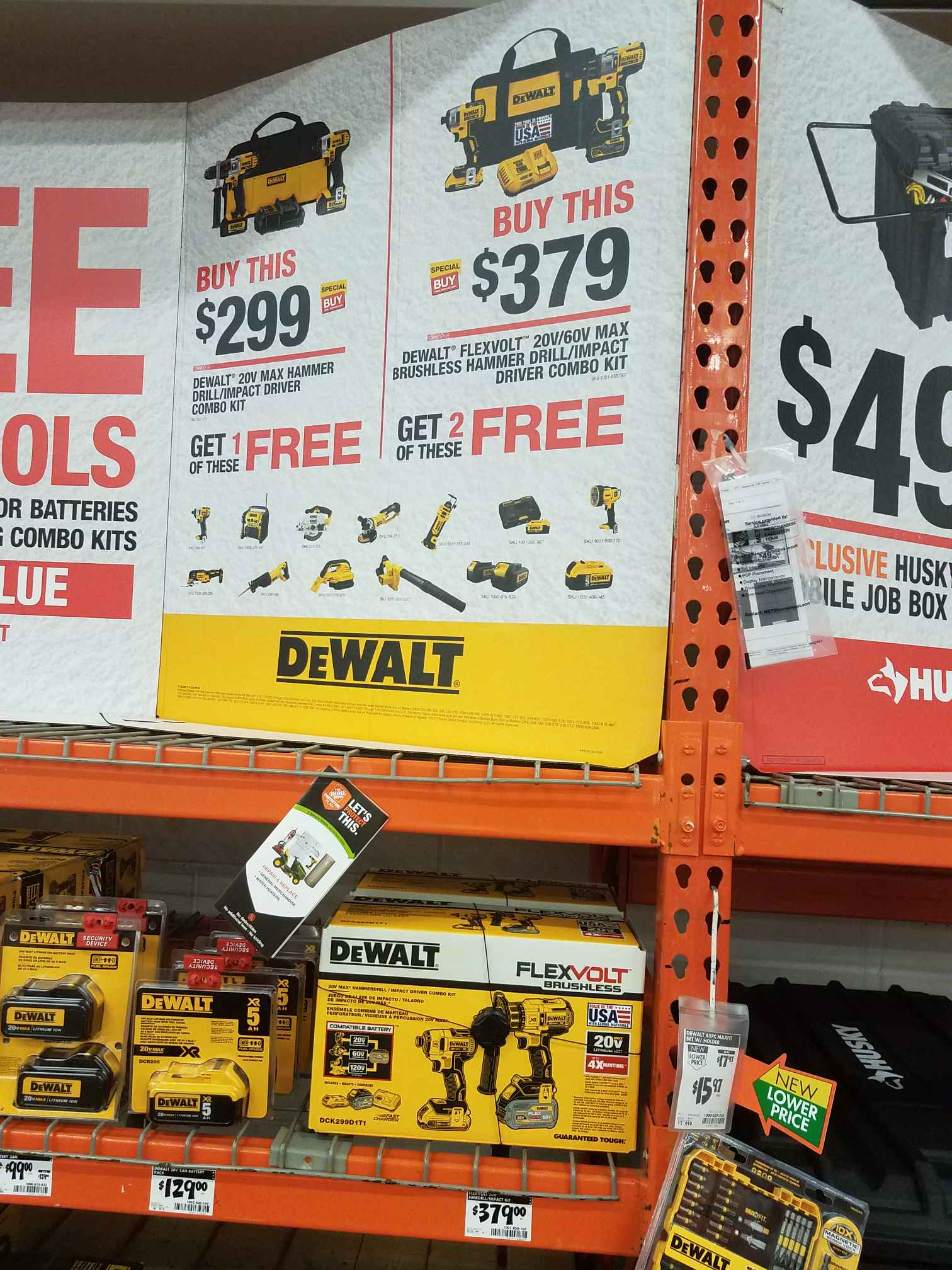 Home Depot local stores have Dewalt bo Kit DCK299D1T1 2