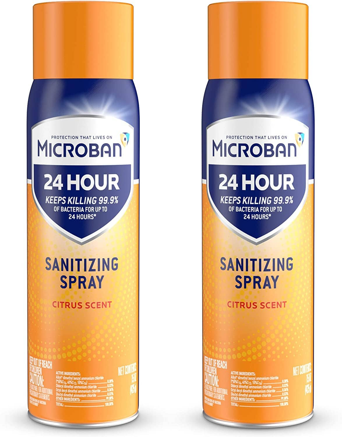 Microban 24 Hour Disinfectant Sanitizing Spray, Citrus Scent, 2 Count, 15 fl oz Each (Temporarily out of stock but able to order) $11.88