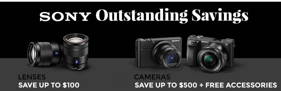 Sony a Series Mirrorless Camera &  Lens Sale: a6000 + accessories $448, a6300 + accessories $748, a6500 + accessories $1198, E35 f1. 8 lens $398 & More