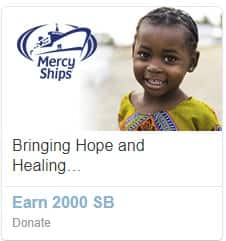 Donate $20 or more to Mercy Ships today and earn 2,000 Swagbucks