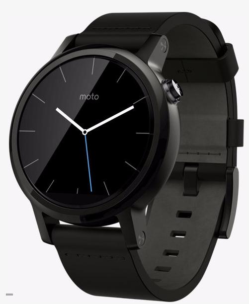 Motorola Men 46mm Leather Moto 360 Smartwatch (2nd Gen) $100