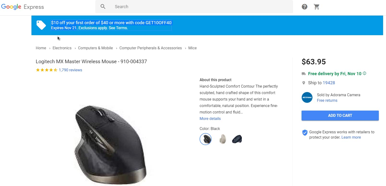 Logitech MX Master Mouse - New Black color FS  $53.95 + tax for New customers -- Possibly $20 more off with Amex offer