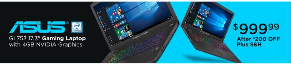 """ASUS ROG GL753VE 17"""" gaming laptop 16G ram, 1tb +128SSD, $999"""