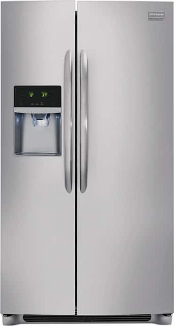 Frigidaire 26.0 Cu. Ft. Frost-Free Side-by-Side Refrigerator with Thru-the-Door Ice and Water Stainless steel BEST BUY $877.99 Reg. $1,349.99 FREE DELIVERY