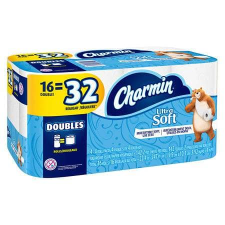 Charmin Ultra Soft Double Rolls (16 Pack) $7.99
