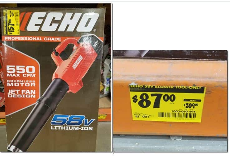 Echo 58v Blower Tool Only- YMMV  Clearance at Home Depot $87