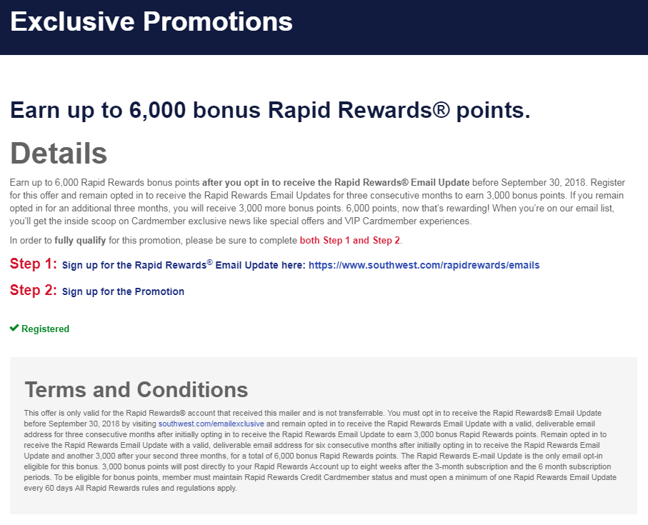 Earn up to 6,000 bonus Rapid Rewards® points - Opt In to Receive Emails Promotion - YMMV