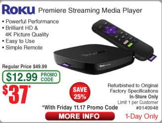 Roku Premier (refurbished) $37 + free shipping (with Friday promo code)