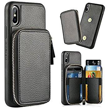 promo code 56ab7 0c683 ZVE iPhone X Case with Credit Card Holder Slot/Detachable Leather ...