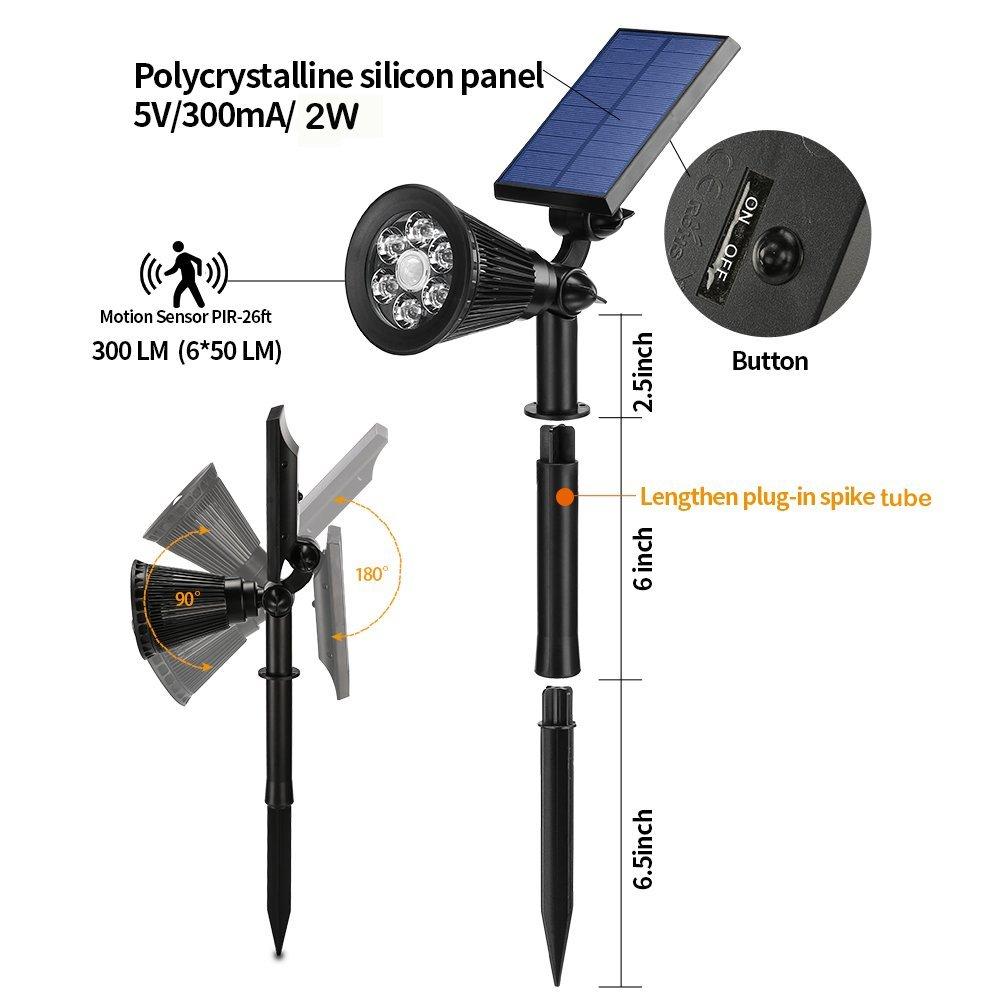 2 Pack Motion Sensor Solar Powered Security 6 LED Landscape Light $25.83 @ Amazon