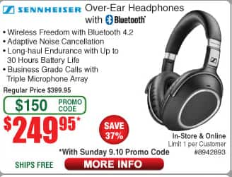 Sennheiser PXC 550 ANC Wireless Headphones - $249.95 w/promo code & free shipping @ Fry's Electronics (when purchased between 09/10/2017 and 09/16/2017)
