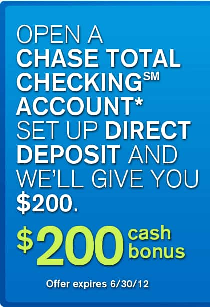 Dead: Chase $200 Cash Bonus for New Checking Account