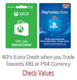GameStop Trade-In Offer: Up to 40% extra credit when you trade towards Apple, PlayStation or Xbox GC