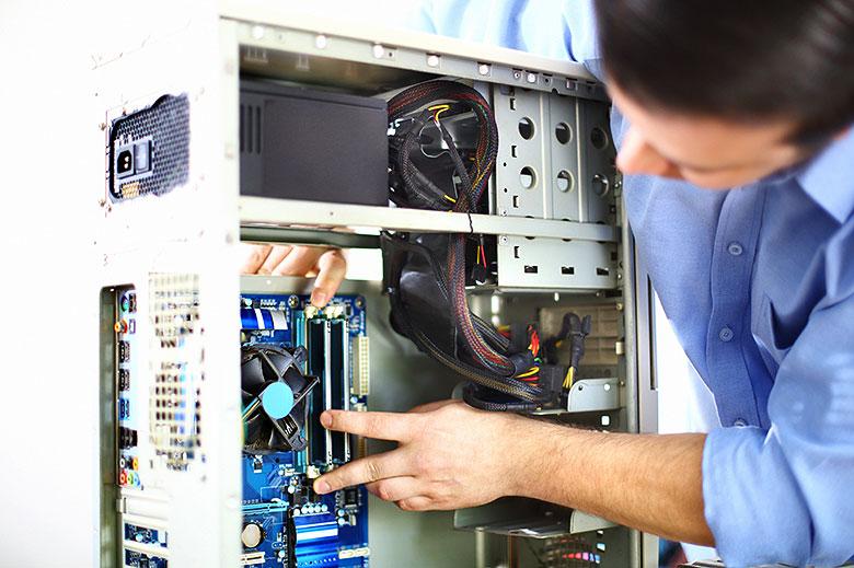 Man installing PC parts