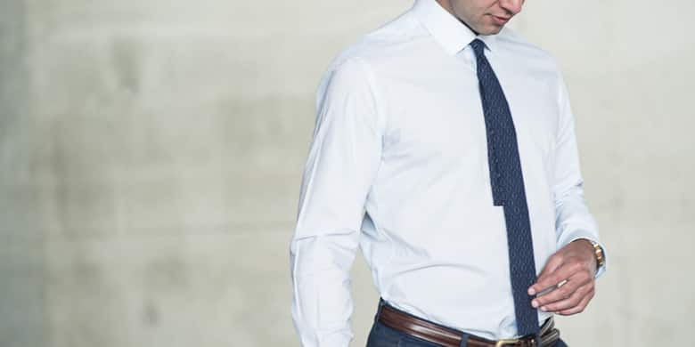 Man wearing a dress shirt and tie