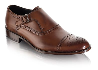 Brown Brogue Cap-Toe Monk Strap Men's Dress Shoe