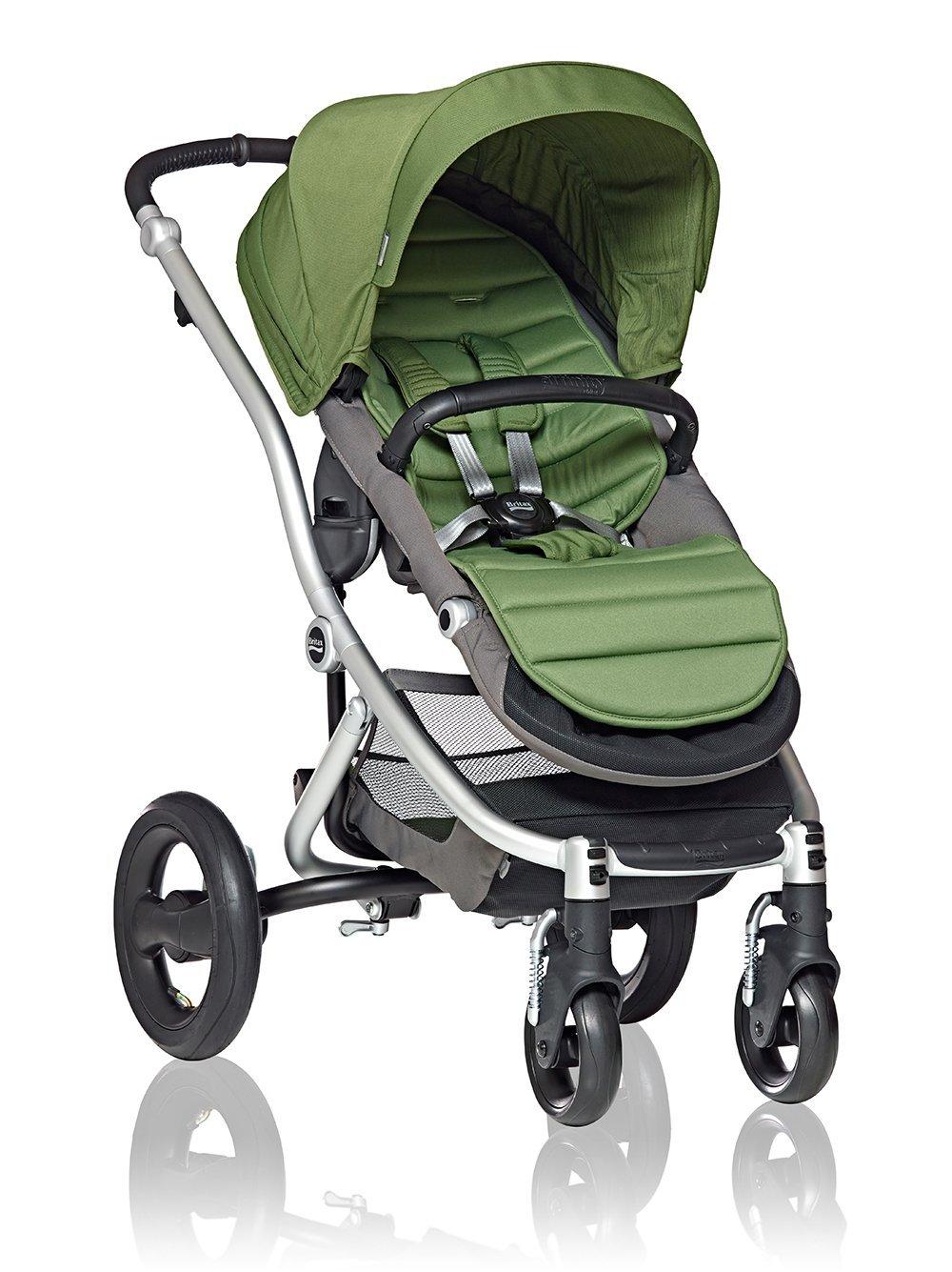 Green baby stroller