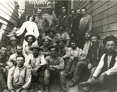 19th century miners wearing blue jeans
