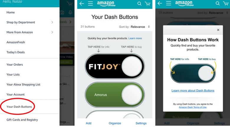 Amazon dash app buttons