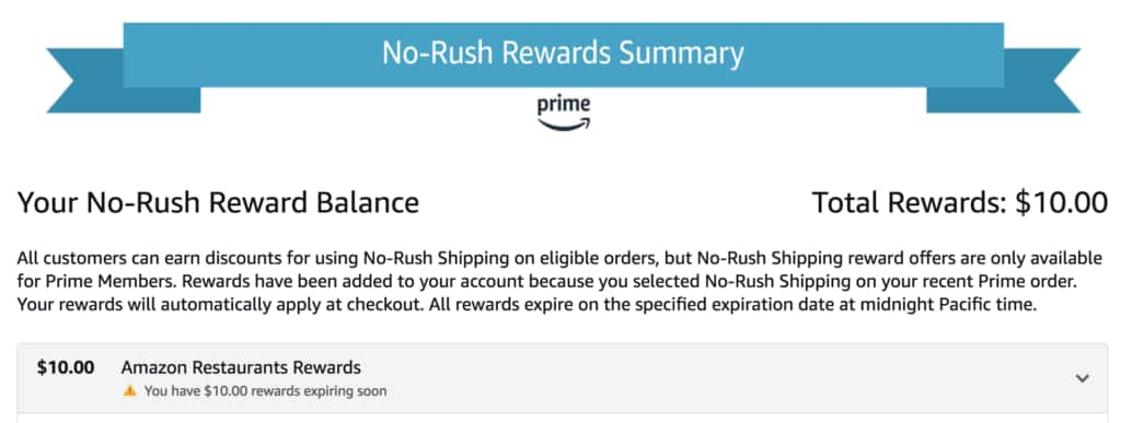 Amazon no rush shipping credits Slickdeals