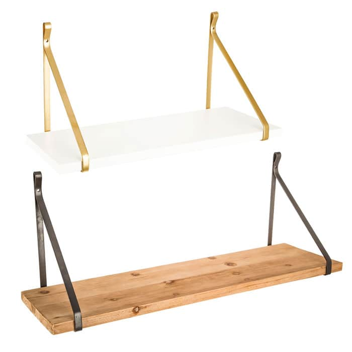 Natural & White Wood Shelf Set