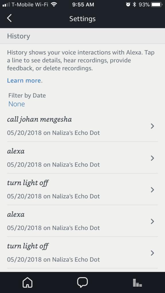 Delete Alexa voice recording
